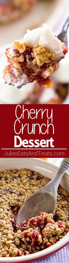 - Cherry Crumble Pie ~ Quick, Easy and Delicious Cherry Dessert! Tons of Crunchy C… Cherry Crumble Pie ~ Quick, Easy and Delicious Cherry Dessert! Tons of Crunchy Crumb Topping and a Delicious Crumb Crust with Cherry Pie Filling! Mini Desserts, Cherry Desserts, Quick Easy Desserts, Cherry Recipes, Fruit Recipes, Sweet Recipes, Delicious Desserts, Dessert Recipes, Recipies