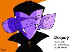 """""""Vampir"""" Ilustración a lápiz y tinta, coloreada con Photoshop."""