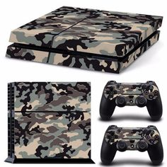 Camouflage Plastic Vinyl Skin Sticker For Sony Playstation 4 Console with 2 Controllers Cover For Gamepad Joypad Decal Best Camouflage, Mundo Nerd, Ps4 Skins, Playstation 4 Console, Gaming Accessories, Ps4 Controller, Star Wars Darth, Consumer Electronics, Video Games