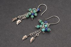 Turquoise and Blue Beads Cluster with Silver Leaves Earrings for teens and women.. $65.00, via Etsy.