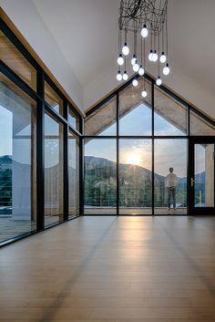 거제 아침고요마을 _2017년 경상남도 건축대상제 은상 수상 : 네이버 블로그 Home Ceiling, Ceiling Lights, Building A House, Eco Friendly, Fire, Cabin, Windows, Doors, Lighting