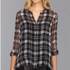 Sheer plaid top ✨NWOT. Black and white sheer plaid top. Last two pictures are to show how you can style and wear the top they are not the actual product. I do bundle and take reasonable offers! Tops