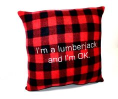 Lumberjack Red Plaid Fleece Pillow by YellowBugBoutique on Etsy, $32.00