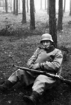 German dispatch rider during a pause somewhere on the Eastern Front. The assignment was among the most dangerous, with the dispatch rider crossing often enemy territory away from all friendly presence, easy prey to partisans and enemy soldiers.