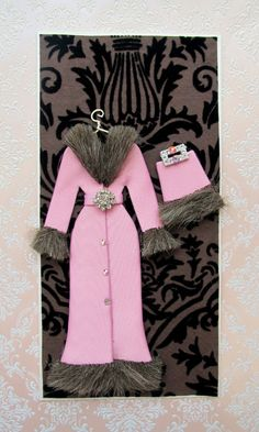 Helena Personalized Faux Fur Coat Card / DL Size / Handmade Greeting Card