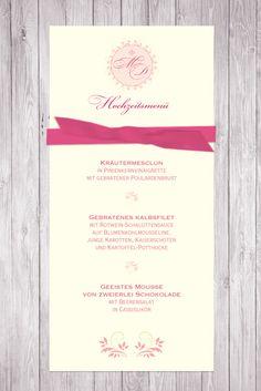 Menükarte Sommernachtstraum, Pink, Creme, Band, mit Hochzeitslogo und floralem Muster ©passion4paper, www.die-edle-karte.de