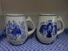 VINTAGE CHRISTMAS NORWEGIAN Porsgrunds Porcelain Collectible 1970 & 1972 Mugs Limited Ed. Blue And White