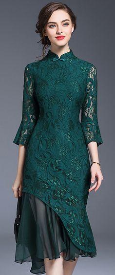 Sexy Stitching Chiffon Lace Mermaid Bodycon Dress