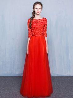 A Line Half Sleeve Flower Aplique Floor Length Prom Dress