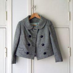 Colette Patterns Anise Jacket - Fabric Idea : B&W tweed herringbone Corsage, Beatnik Style, Colette Patterns, Chevrons, Tweed, Dress Making Patterns, Mod Fashion, Jacket Pattern, Sewing Clothes