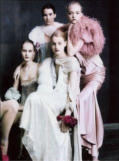 Gemma Ward, Anna Jagodzinska, Iza Olak and Lucy Palmer photographed by Paolo Roversi for Vogue UK March 2004