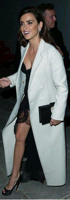 white coat + black slip dress /Penelope Cruz