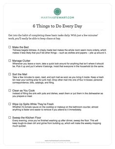 Martha Stewart cleaning and organizing checklists. Daily, Weekly, Monthly and Seasonal things to do around the house.