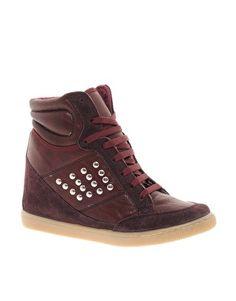 Aumentar Zapatillas de deporte hi-top de cuña con tachuelas y detalle de ante DENY de ASOS