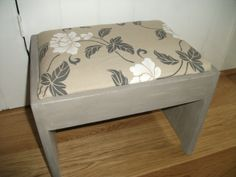Vintage foot stool that looked a mess when I got it but with a bit of time, effort & some old curtains it looks lovely