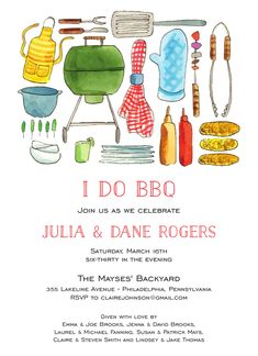 BBQ Invitation designed by Flower and Vine Engagement Party Invitations, Invitation Design, Rsvp, Bbq, Wedding, Barbecue, Valentines Day Weddings, Barbecue Pit, Weddings
