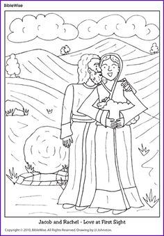 Coloring (Jacob and Rachel) - Kids Korner - BibleWise