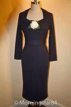 jane mansfield Navy Blue Wiggle Dress'The Girl Cant Help by Morningstar84 on Etsy, $195.00