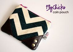 Chevron pouch with leather and rivets by FlyChicks on Etsy, $25.00