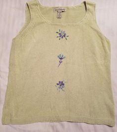 David Brooks Womens XL Sweater Sleeveless Knit Green and Purple Top #DavidBrooks #VestSleeveless #All