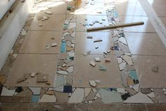 Creative Floor Tiling. They don't make the tiles we have anymore. Ours is broken, so we may have to do something like this!! Cool idea!