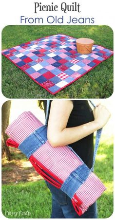 DIY Picnic Quilt - from old jeans and fabric scraps.