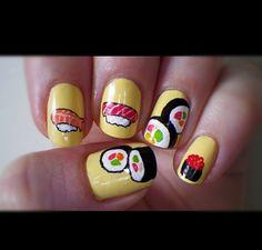 So cute! Sushi nails! #sushi #nailart