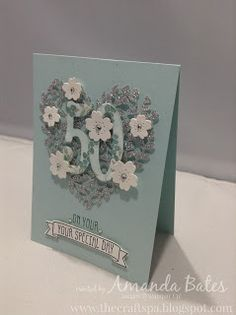 The Craft Spa - Stampin' Up! UK independent demonstrator : Blooming Heart in Silver and Blues...