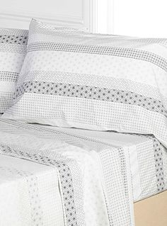 Mosaic Stripe Percale Sheet, 200 Thread Count Fits Mattresses Up To 15 In