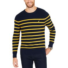 A crisp Breton stripe is always a wardrobe classic. A smooth knit gives this Nautica crew-neck sweater enough layering power to take you all the way through the season with the perfect amount of polish. Pullover Sweaters, Men Sweater, Sailing Jacket, Vogue, Yellow Stripes, Blue Yellow, Plus Size Activewear, Dresses With Leggings, Man