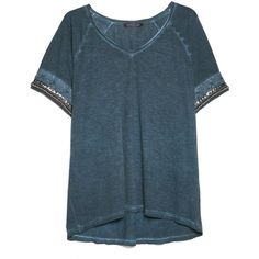 Mango Beaded Cotton T-Shirt ($27) ❤ liked on Polyvore featuring tops, t-shirts, shirts, blue t shirt, cotton t shirts, short sleeve tees, vneck t shirts and embellished t shirts