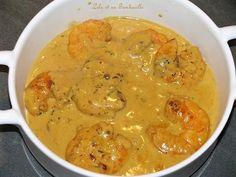 Cassolettes de crevettes coco-curry