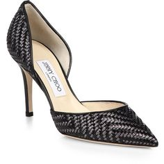 Jimmy Choo Addison Woven Leather D'Orsay Pumps (€710) found on Polyvore featuring shoes, pumps, heels, sapatos, apparel & accessories, black, black pointy pumps, black pointy toe pumps, black pumps and jimmy choo shoes