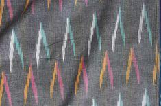 Gray Ikat fabric handwoven homespun cotton fabric handmade fabric by the yard