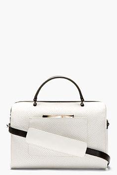 Time's Arrow White Snake-embossed Julian Mini Duffel Bag for women | SSENSE