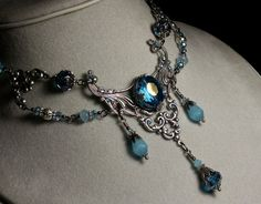 Peacock Blue Aqua Crystal Silver Necklace by TitanicTemptations, $215.00