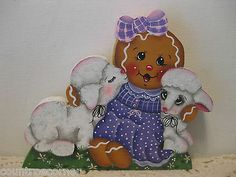 HP Gingerbread Spring time ginger with lambs Shelf Sitter hand painted