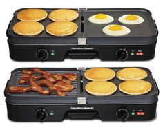 The Hamilton Beach 3-in-1 Grill/Griddle features two reversible cooking plates with independent temperature controls.