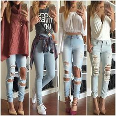 Here is Light Blue Jeans Outfit Ideas for you. Light Blue Jeans Outfit Ideas jeans outfit ideas for men macys. Mode Outfits, Jean Outfits, Outfits For Teens, Trendy Outfits, Dress Outfits, Teenage Outfits, Outfits 2016, Ripped Jeans Outfit, Skinny Jeans
