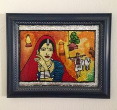 Indian Village Lady Waiting For Her Husband Returning From The Fields - Glass Painting