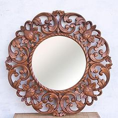 Balinese Artist 15in Round Lotus Floral Carved Suar Wood Wall Mirror Home Decor From Bali