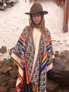 Large Quechua Peruvian Poncho Rainbow Poncho / by LivingAltar, $105.00    https://www.etsy.com/listing/120097484/large-quechua-peruvian-poncho-rainbow