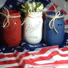 4th of July Decoration-Nautical Decor-4th of July Party - Memorial Day-Home Decor - Patriotic - RED WHITE and BLUE. Painted Mason Jars.