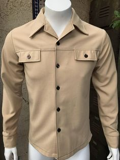 c05377b050c 1960 70 s Vintage Sears Put-On Shop Men s Polyester Long Sleeved Shirt
