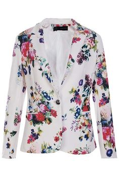 One Button Multi-color Blazer    $69.99  romwe.com  #romwe