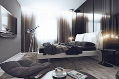 A Bachelor apartment bed grey bedroom