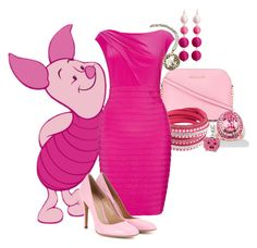 """Piglet"" by nichole-anne-gaviotakis ❤ liked on Polyvore featuring MICHAEL Michael Kors, Chicnova Fashion, Adrianna Papell, Gianvito Rossi, Palm Beach Jewelry and Disney"