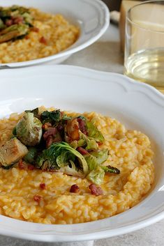 Butternut Squash Risotto with Pancetta and Brussels Sprouts - Awesome! I didn't change anything, though I didn't have to use all 6 cups of stock, probably about 5.5 cups. The brussels sprouts and pancetta were awesome. Made about 5-6 servings.