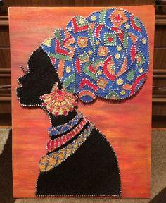 Best 12 String art-Africa woman-UP Arte Linear, Nail String Art, String Art Patterns, Africa Art, Wedding Art, Dot Painting, Pattern Art, Textile Art, Female Art