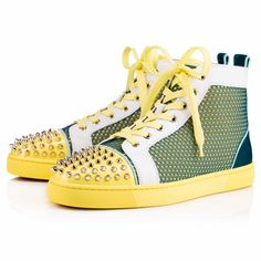"Update your red sole sneaker collection with ""Lou Spikes Flat"" in vibrant amazonia 'hexa techno' mesh and suede with a sunshine leather and gold spiked toe box. This coveted Louboutin hightop silhouette makes an irresistible addition to your off-duty looks."